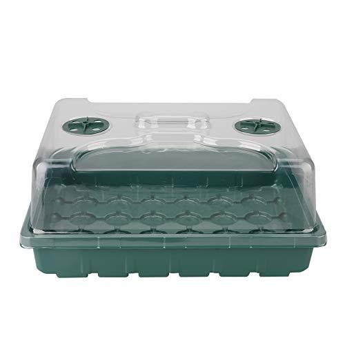 LWAN3 Bandeja de semillero de semillas, bandeja de 48 celdas Mini propagador con cúpula ventilada de humedad ajustable para plantas de principiante de invernadero