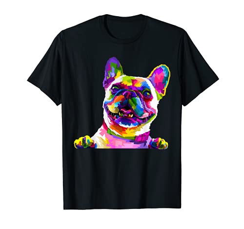 Frenchie French Bulldog Pop Art Portrait Bouledogue T-Shirt