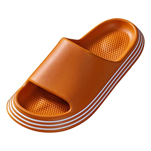 DAIFINEY Damen Badeschuhe Slippers Hausschuhe Herren Unisex Badezimmer Fitnessraum Indoor weiche Sohle rutschfest Schnelltrocknend(5-Orange/Orange,39) 1602