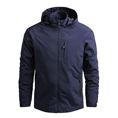 GQDP Jacket Men's Spring and Autumn Thin Mountaineering Quick-Drying Outwear Windbreaker Outdoor Sports Coats Navy Blue