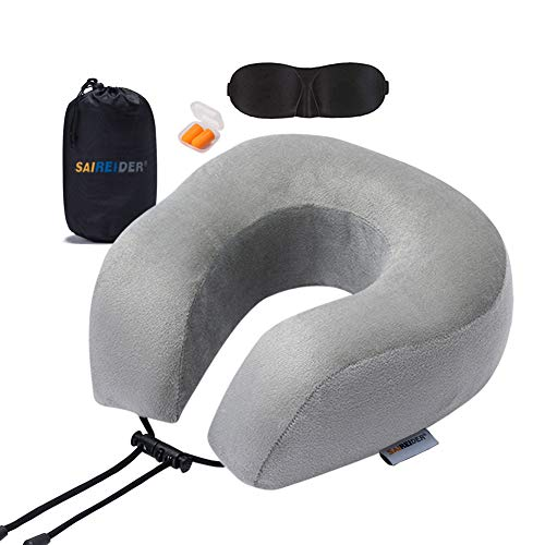 SAIREIDER Travel Pillow 100% Memory Foam Neck Pillow for Airplanes Flight Rest Best Adjustable Travel Neck Support Pillows-Prevent The Heads from Falling Forward-Grey