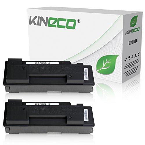 2 Toner kompatibel zu Kyocera TK-340 TK340 für Kyocera FS-2020D, FS-2020DN - 1T02J00EU0 - Schwarz je 12.000 Seiten