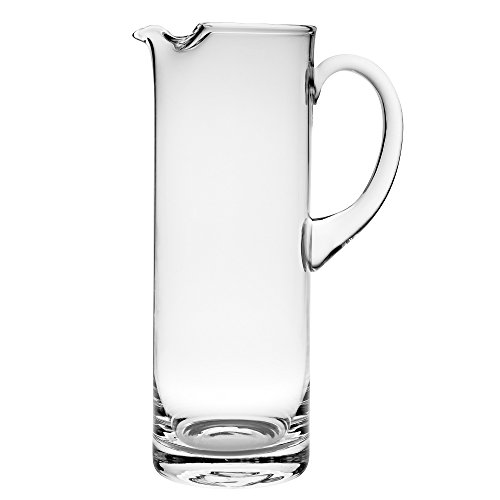 """Barski Handmade Straight Sided Glass Pitcher with handle , With Spout, Ice Lip, 54 oz. 11"""" H, Made in Europe"""