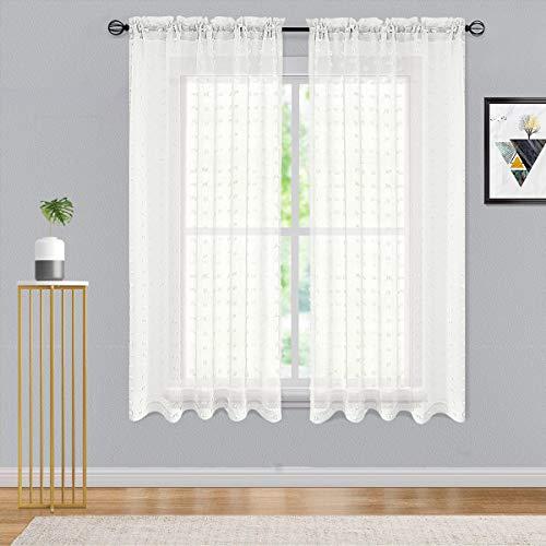 Guken Off - Cortinas transparentes para recámara con pompones de visillo de 72 pulgadas de largo, cortinas de gasa transparente texturizadas con dobladillo para barra de cortina,...