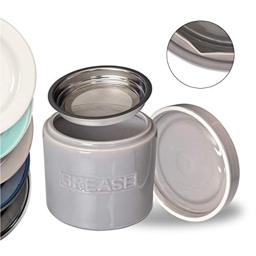 AQUA Bacon Grease Oil Container Storage Can Keeper w/Stainless Strainer Pour Spout Ceramic Porcelain Stoneware Fat Separator Filter Multiple Colors