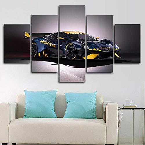 Cuadro En Lienzo Imagen Impresión Pintura Decoración Póster Brabham BT62 Racing Car Cuadro Moderno En Lienzo 5 Piezas XXL 150X80 Cm Enmarcado Murales Pared Hogar Decor