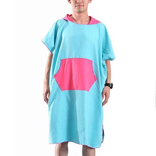 YCLOTH Beach Changing Robe - Microvezel Poncho Badjas voor Surfen, Zwemmen, Triatlon Binnen Buiten Blauw Zwart Oranje Grijs Groen stijlnaam 80 * 110cm Blauw