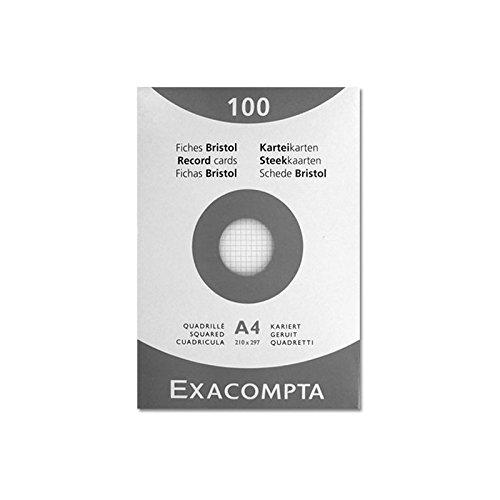 Exacompta 10206E Paquet 100 Fiches Bristol sous Film Blanc Quadrille 5 X 5 Non Perfore 210 X 297 mm