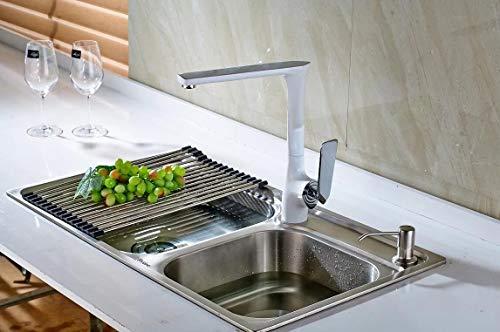 Logo Grifo de la Cocina de la Pintura/Recubrimiento de Cobre Grifo de la Cocina Asiento Tipo Agua Caliente y fría del Grifo del Fregadero giratoria Orificio de Grifo de Lavabo Grifo de la Cocina