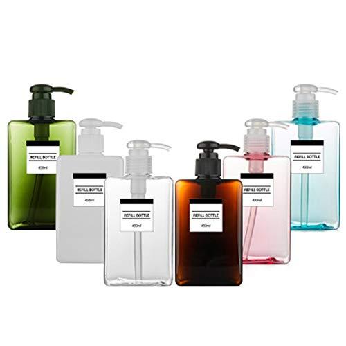 AIUIN 450ml Bouteille de Lotion Vide en Plastique Flacon Pompe de Lotion Vide Rechargeable Bouteille pour Lotion, shampooing, cosmétique 6pcs