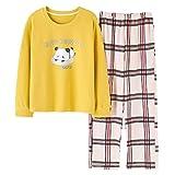 DFDLNL Panda Top + Pantalones a Cuadros 2 unids/Set Conjuntos de Pijamas de Mujer Ropa de Dormir de otoño Pijamas de niña Mujer Ocio Ropa para Adultos L 78001
