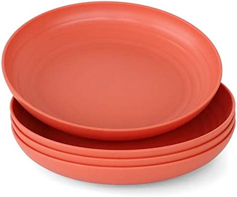 Unbreakable Wheat Straw Plates Reusable 9 Dinner Plate Set Dishwasher and Microwave Safe Lightweight product image
