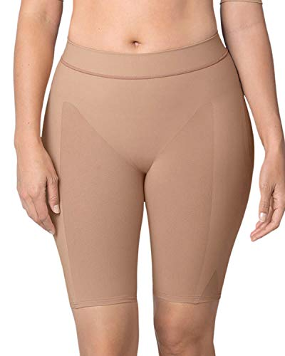 Leonisa Women's Petite Plus Well-Rounded Invisible Butt Lifter Shaper Short, Beige, S-M