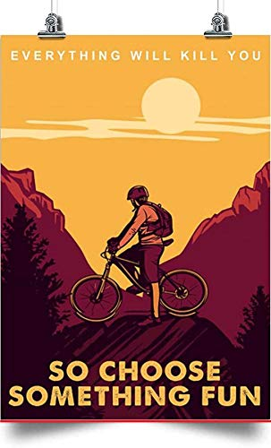 Mountain Bike Journey Vertical Canvas - So Choose Something Fun Art Canvas 0.75 Inch Print Size 8x12, 12x18, 16x24, 24x36 Inches