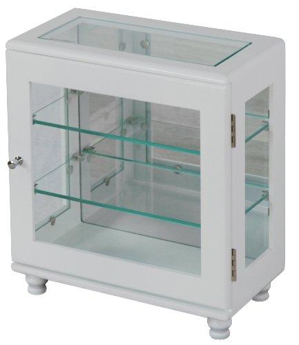 コレクションラック ガラス コレクションケース ホワイト 横型 幅32cm