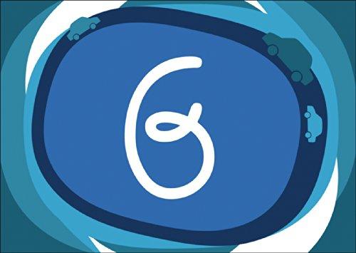 Chique blauwe wenskaart/verjaardagskaart voor de 6e verjaardag met auto's in blauw • ook voor direct verzenden met uw persoonlijke tekst als inlegger. • Mooie wenskaart met envelop zakelijk & privé
