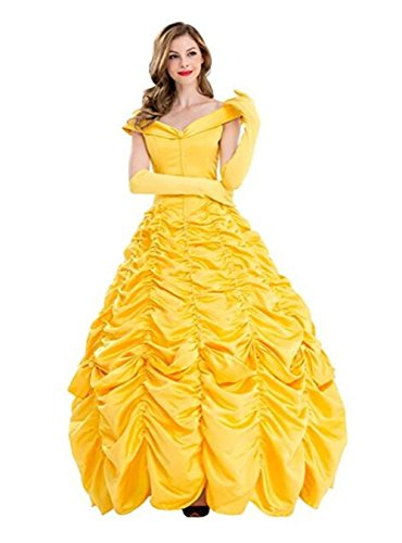 Zhangjianwangluokeji Damen Kleid Golden Cosplay Erwachsene Halloween Fasching Kostüm (L)