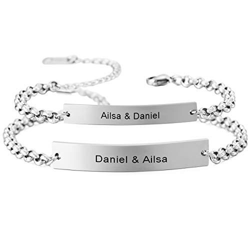 MeMeDIY 2PCS Silber Ton Edelstahl Armband Link Paar Paare Einstellbar Verstellbaren Gravur