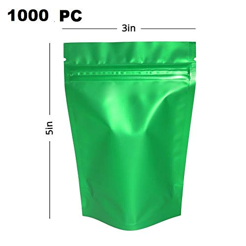 Best Review Of Durable and Wonderful 1000PC-3x5in(7.5x13cm) Matte Front Clear Green Back Foil Mylar ...