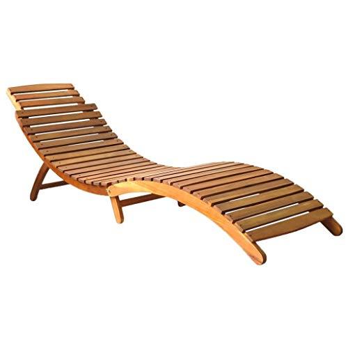 vidaXL Solid Acacia Wood Sun Lounger Foldable Weather Resistant Durable Backyard Furniture Outdoor Garden Patio Terrace Lounge Day Sun Bed Brown