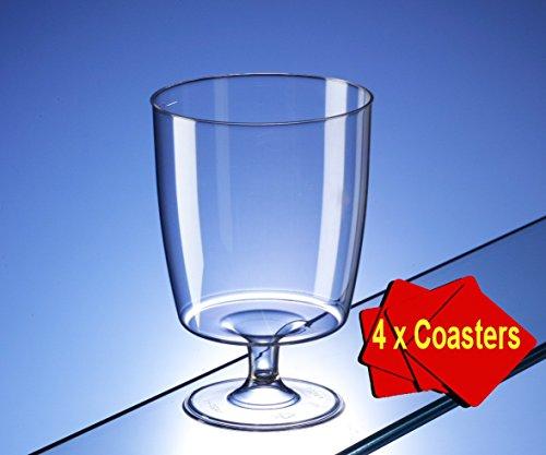 40x Un Copas de vino de plástico desechables (200ml). Ideal para Picnics, camping y glamping, festivales, Outdoor Pool, BBQ, Jardín y ocasiones especiales. Paquete de 40vasos con 4x AIOS de bebidas bajo etzern, embalaje.
