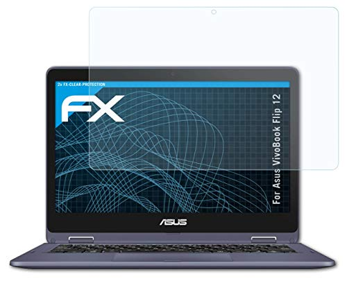 atFolix Schutzfolie kompatibel mit Asus VivoBook Flip 12 Folie, ultraklare FX Bildschirmschutzfolie (2X)