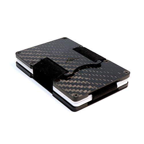 STEALTH Wallet Tarjetero RFID Minimalista - Carteras para Tarjetas Compactas con Bloqueo NFC - Ligero con Seguridad (Fibra de Carbono con Expulsor de Lengüeta y Almacenamiento de Efectivo Elástico)