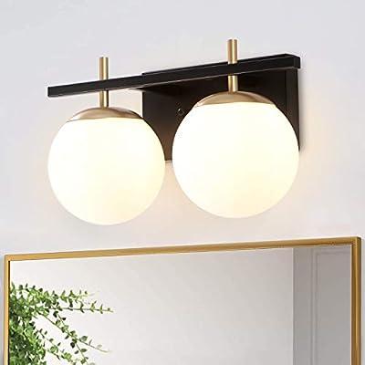 2-Lights Vanity Light Fixtures,Bathroom Black Wall Sconces, Modern Bathroom Vanity Lighting ,Milk White Globe Glass Shade Industrial Wall Lamp for Bedroom Hallway Living Room