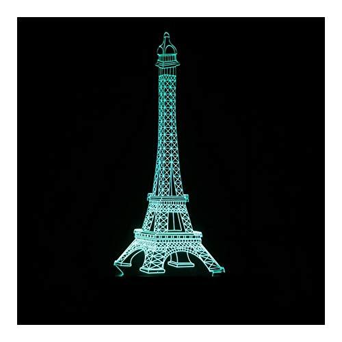 Luz nocturna colorida torre Eiffel luz nocturna 3D, interruptor táctil de control remoto LED, lámpara de mesita de noche visual degradado, para habitación de niños, regalos de cumpleaños decorativos
