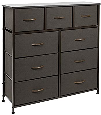 Sorbus Dresser with 9 Drawers - Furniture Storage Chest Tower Unit for Bedroom, Hallway, Closet, Office Organization - Steel Frame, Wood Top, Easy Pull Fabric Bins (Brown)