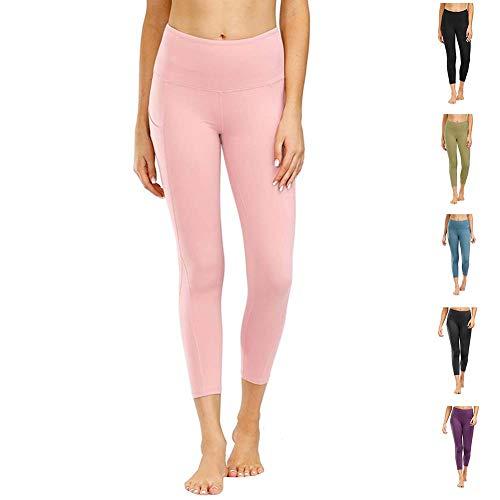 Damen Leggings Yogahosen Sporthose Tights Laufhose High Waist mit Taschen Dehnbar Jogginghose Yoga Sport Fitness Laufen(jcjf.rosa,m)