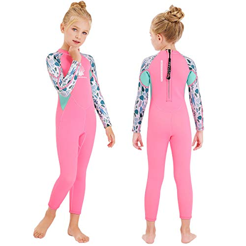 DIVESAIL Kids Wetsuit Full Suits Shorty Suits Girls 2.5mm Neoprene Swimsuit UV Protection Keep Warm Long Sleeve Wetsuits for Swimming Diving Scuba L Size