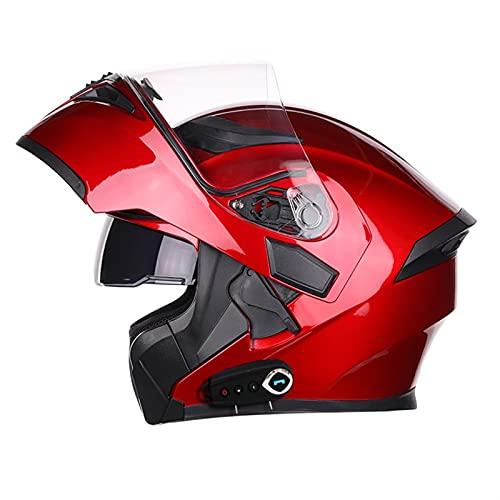 HSCDQ Nuevo Casco Bluetooth Flip Up Visor Dual Lens Casco Moto Cool Motocicleta Casco Casco Casco Black Motorbike Cascos modulares exc.tq (Color : Red K8 BT, Size : XL)