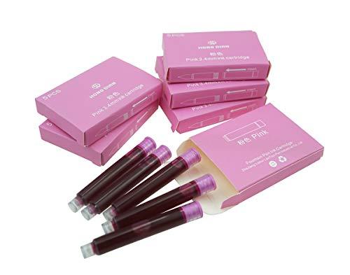 Cartuchos de tinta Hongdian para pluma estilográfica, diámetro de 3,4 mm, 30 cartuchos de tinta de color rosa