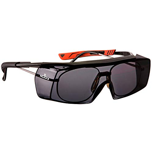 NoCry Tinted Over-Spec Safety Glasses - with Anti-Scratch Wraparound Lenses, Adjustable Arms, and UV400 Protection. ANSI Z87.1 & OSHA Certified. Black & Red Frames