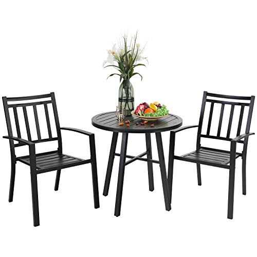 PHI VILLA 3 Pieces Patio Bistro Set Furniture Dining Sets with 2 Outdoor Dining Stackable Chairs and 1 x Round Table for Yard and Bistro (Black)