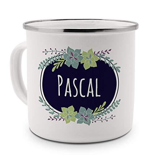 printplanet Emaille-Tasse mit Namen Pascal - Metallbecher mit Design Flowers - Nostalgie-Becher, Camping-Tasse, Blechtasse, Farbe Silber