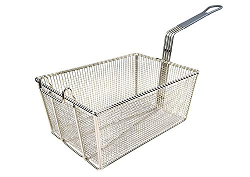 Tiger Chef Stainless Steel Fry Basket 13 1/4' x 9 1/2' x 6', 10' gray plastic handle