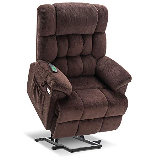 Mcombo Electric Power Lift Recliner Chair with Massage and Heat, Adjustable Headrest & Extended Footrest for Elderly People, 3 Positions, USB Ports, 2 Side Pockets, Plush Fabric 7533 (Brown)