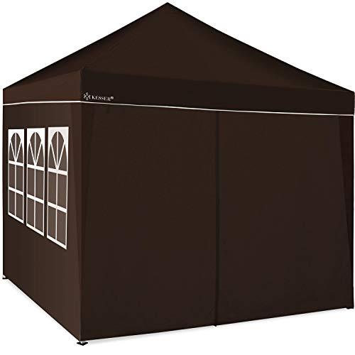 KESSER® 2X Seitenwand Braun für Pavillon 3x3m - Faltpavillon Pop Up   klappbar   platzsparend   verstaubar