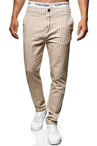 Indicode Herren Santa Lucia Stoffhose aus 98% Baumwolle mit 4 Taschen | Lange Regular Fit Hose gestreifte Herrenhose Stretch Baumwollhose Sommerhose Freizeithose für Männer Mojave 34/32