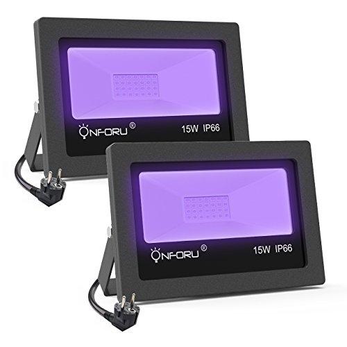 Onforu 2er 15W LED Schwarzlicht Strahler, IP66 Wasserdicht Schwarzlichtlampe, UV Fluter mit Stecker, Fluoreszenz Blacklight Partylicht...