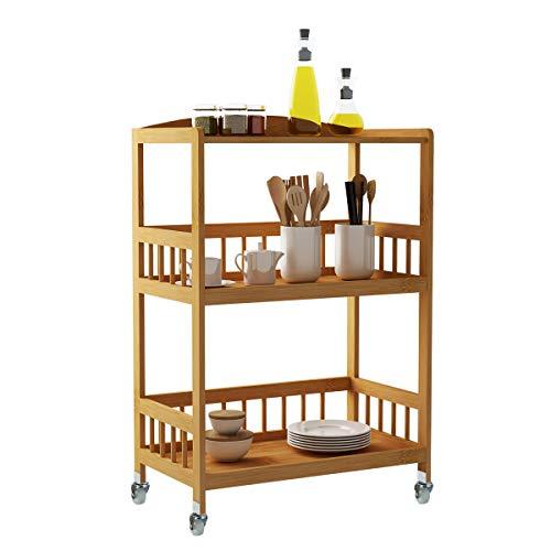 sogesfurniture Carrello Cucina in Legno di bambù con 3 Ripiani, Multiuso Carrello Bamboo Portavivande Carrello da Portata, KS-ZC05-BH