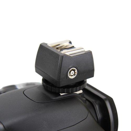 JJC JSC-8 Standard ISO Blitzadapter mit PC-Synchrobuchse, 3,5mm Klinkenbuchse und Blitzschuh