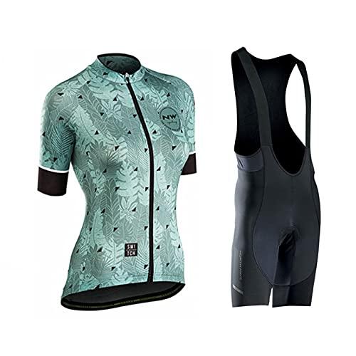 HXPainting Mujer Conjunto Ropa Ciclismo Maillot Ciclista Mangas Cortas Y Culotte Bicicleta...