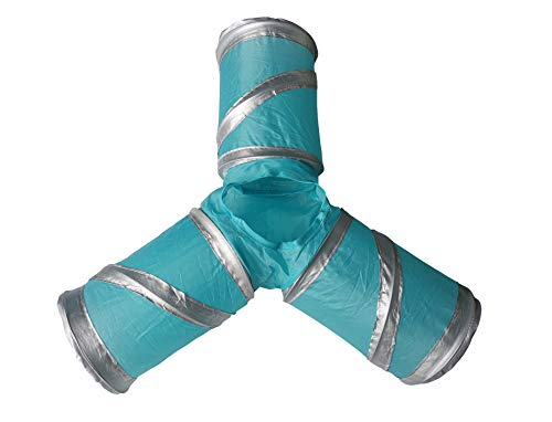 WOWOWMEOW Small Animals 3-Way Play Tunnel Foldable Toy Tube for Hamsters, Guinea Pigs, Chinchillas and Hedgehogs (Blue/Silver)