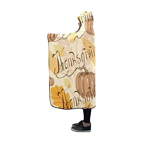 Rtosd Couverture à Capuche Thanksgiving Day Autumn Blanket Wrap à Capuche Comfotable