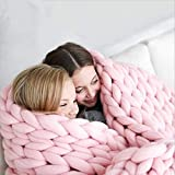 Manta de punto, manta de lana gruesa, manta de punto de lana para mascotas, cama, silla, sofá, yoga, alfombra (rosa, 100 x 120 cm)