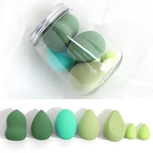Juego De Esponjas De Maquillaje Esponjas Cómodas Y Seguras Sin Látex Esponja De Cobertura Impecable Para Base Líquida, Crema Y Polvo-7Pcs Verde