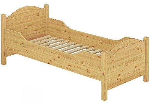 Erst-Holz® Seniorenbett extra hoch Rollrost 90x200 Massivholz Kiefer Holzbett Einzelbett Gästebett 60.40-09